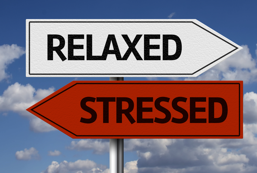 Sign showing directions for relaxation and stress
