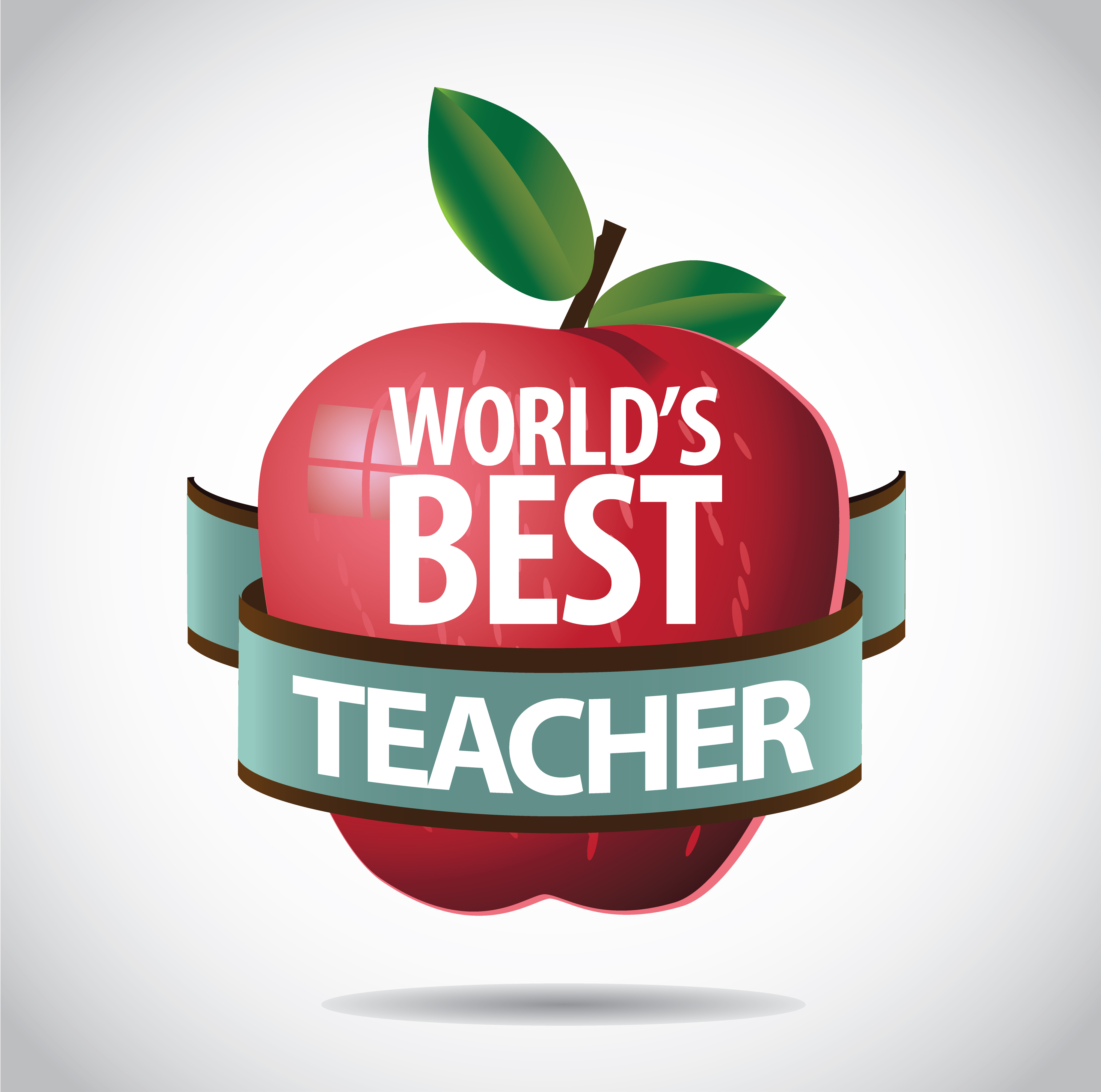 Apple with world's best teacher sign