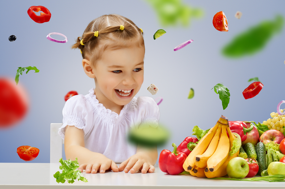 Young girl learning to make healthy snacks and meals for child care center
