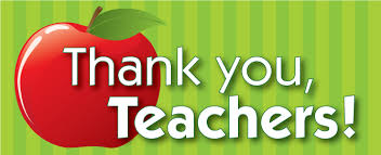 Sign depicting an apple and a note of appreciation and thanks to all teachers